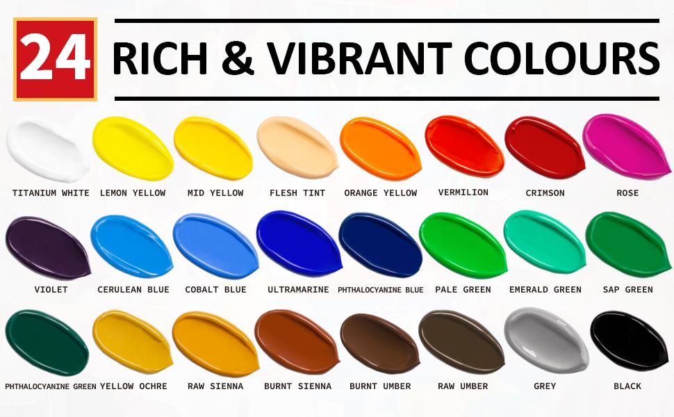 24 colors artist quality acrylic paints