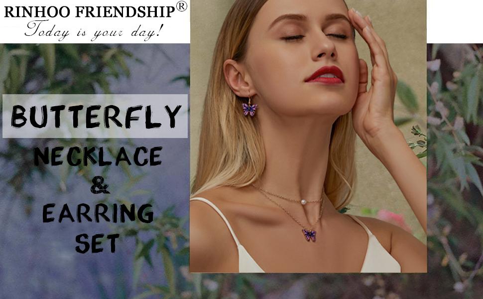 butterfly necklace earrings set