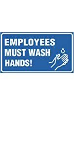 Employees must wash hands corona virus hygiene sign cleanliness sanitary rules prevent virus wash