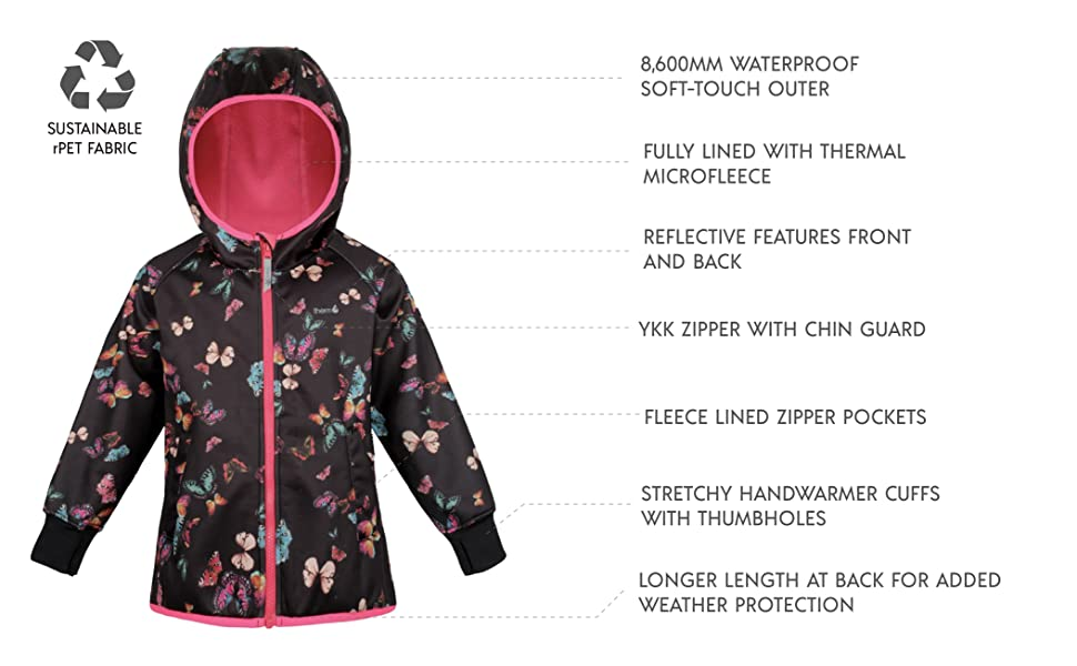 Therm Girls Rain Jacket Toddler Kids Youth Lightweight Recycled Plastic Raincoat Fleece Lined Softshell