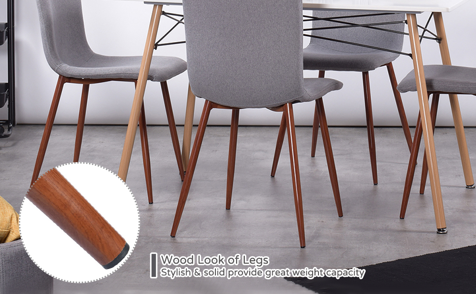 Wooden Steel Legs Heavy Load Weight Capacity Durable Dining Chair Set of 4