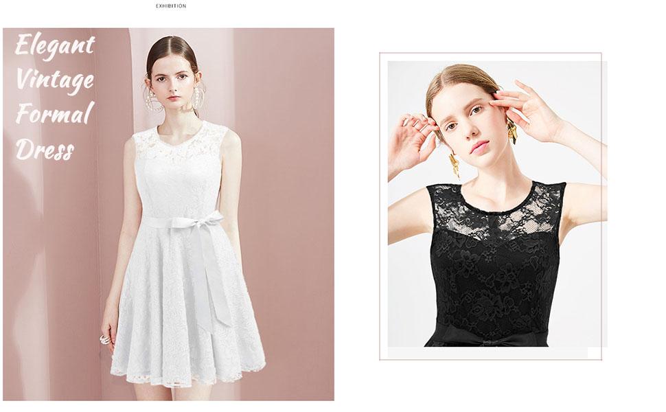white/black lace dress