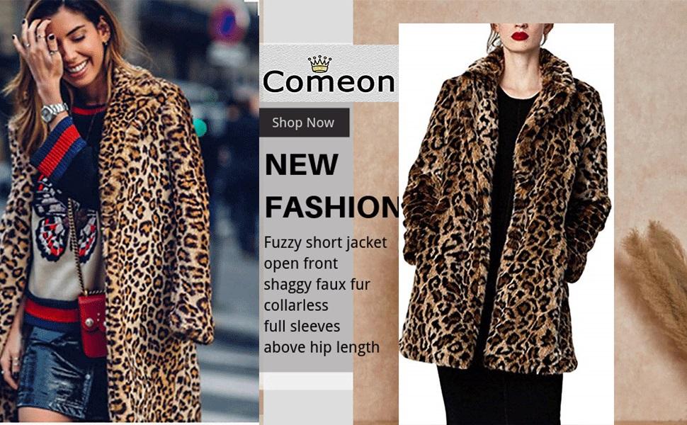 YYW Women Winter Leopard Faux Fur Coat Long Sleeve Parka Jacket Overcoat Warm Fuzzy Outwear Overcoat