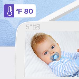 "baby monitor with camera - GOODBABY Real 720P 5"" HD Display Video Baby Monitor With Camera And Audio, Remote Pan&Tilt&Zoom, Two-Way Talk,Temperature Monitor, Night Vision, Lullaby Player, 960ft Range"