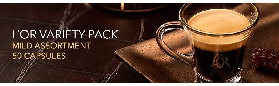 L'Or, Variety Pack, 50 capsules, coffee, espresso, satinato, or absulo, ristretto, colombia