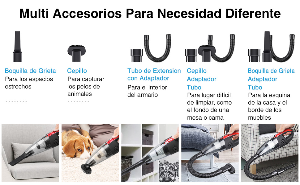 Audew Aspiradora de Mano Sin Cable, Aspirador Inalámbrico Portatil Seco y Húmedo 120W 2200 mAh, con 3 Cepillos, HEPA Filtro Lavable y Bolsa de Transporte para Coches, Sofas, Pelos Mascotas, Casa: Amazon.es:
