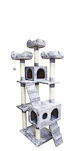 CozyCatFurniture Very Tall Corner Cat Tree Condo for Multi-Cat Households