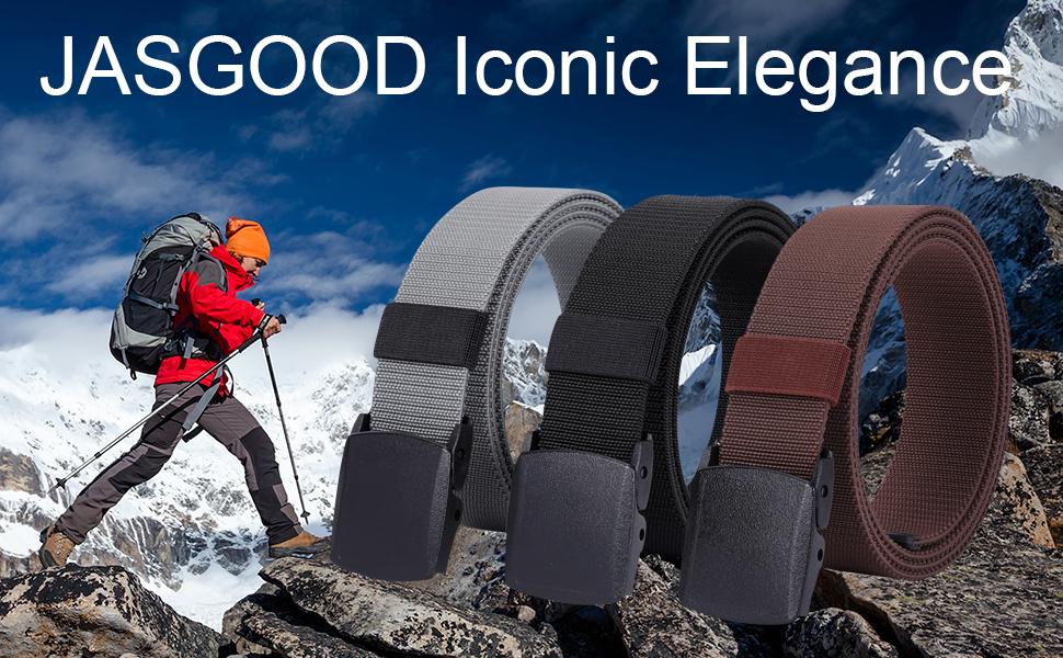 Men's Elastic Stretch Belt, JASGOOD Outdoor Plastic Belt with Removable Buckle Hiking Belt