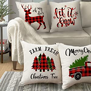 4 pack Christmas throw pillow covers 18x18 inch