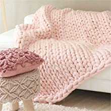 baby pink chunky throw blankets