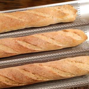 Amazon Com Cosyland Perforated Baguette Pan For French Bread Baking 2 Wave Loaf Nonstick Bake Mold Dough Scraper Cooking Bakers Tools For Professional Home Bakers Gold Kitchen Dining
