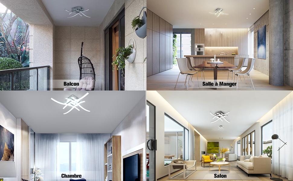 Design DEL Plafonnier chambre planches Couloir Lampe Mat 3-Niveaux variateur