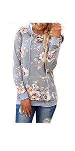 onlypuff Floral Hoodie Sweatshirt for Women Casual Loose Fit