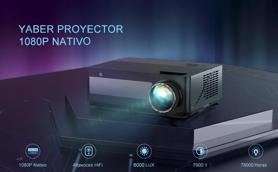 Proyector,YABER 6200 Lúmenes Proyector Full HD 1920x1080P Nativo ...