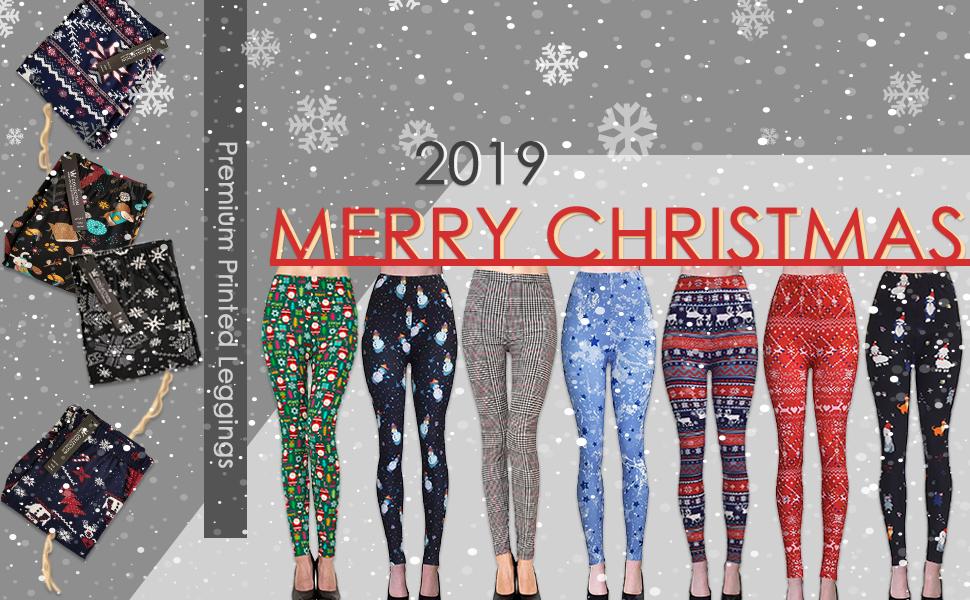 christmas leggings printed brushed cute plus regular