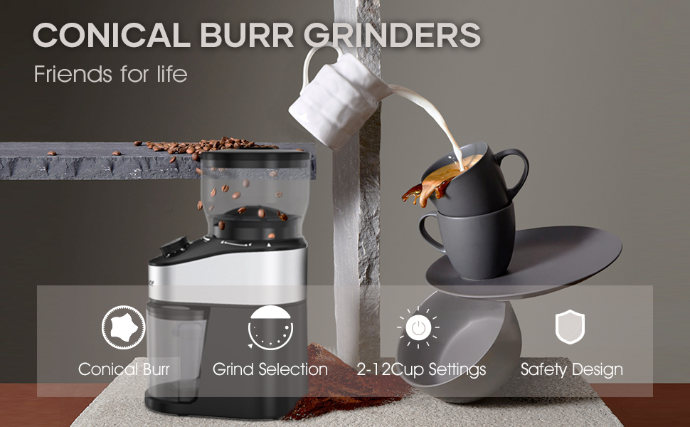 coffee burr grinder friends for life Conical Burr Grind Selection 2-12 Cup Settings Safety Design