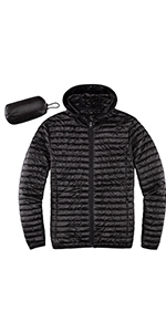 Men's Lightweight Quilted Ultra Loft Packable Puffer Hooded Jacket Synthetic Insulated Jackets