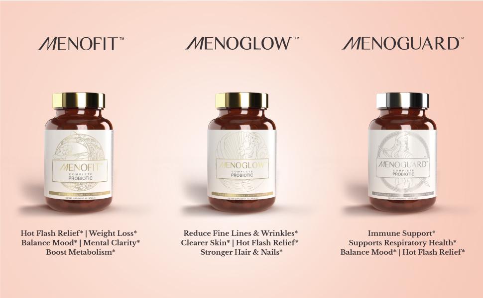 MenoFit, MenoGlow, MenoGuard, MenoLabs, Menopause Symptom Relief, Hot Flash Relief, Supplements