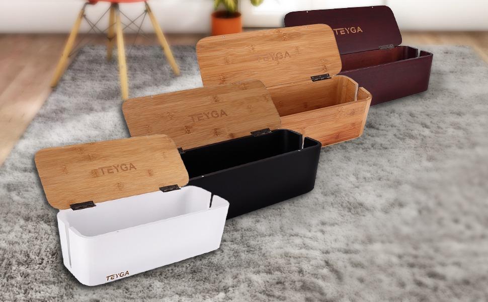 37699187d TEYGA Bamboo Cable Management Box - Stylish Cord Organizer Box Hides ...
