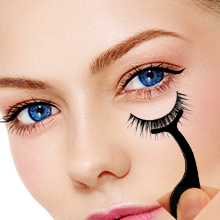 install the eyelashes, adjust the position and angle.
