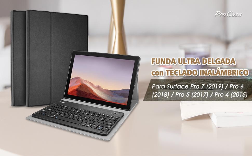 ProCase Funda con Teclado Americano para Surface Pro 7/Pro 6/Pro 5/Pro 4, Carcasa Delgada con Teclado Inglés Inalámbrico Desmontable Magnético para ...