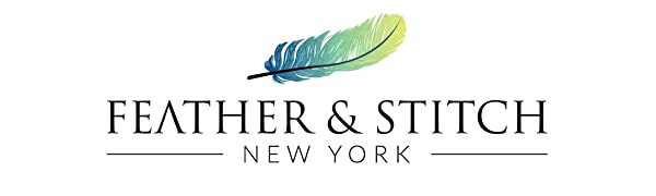 Feather & Stitch New York logo - bed sheets, linens, bedding, bed sheets queen, bedding set, sheets