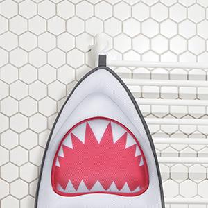 espalda LANGRIA La almohadilla de ba/ño de cuerpo completo con forma de tibur/ón con 7 ventosas para una superficie de ba/ñera estable y c/ómoda ofrece cabeza lavable a m/áquina