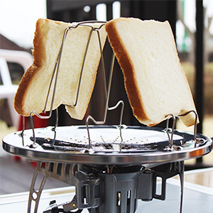 Wasafire Stainless Folding Camp Stove Toaster Portable Collapsible Bread Toast Tray Foldable Cooking Toast Racks for Outdoor Camping Gas Stove