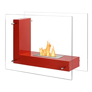 Portable Ventless Fireplace - Vitrum L in Red