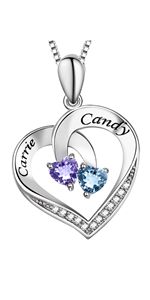Personalized 2 Names Necklace with Birthstone in Sterling Silver
