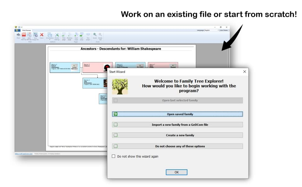 work on an existing file or start from scratch