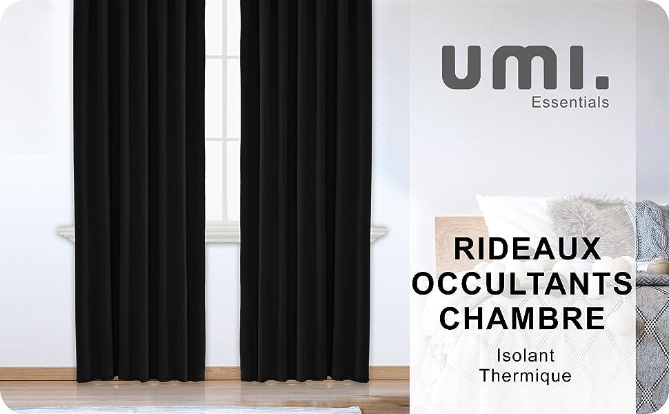 Essentials Paire de Rideau Occultant Isolants Thermique avec Galon Fronceur Rideaux pour Chambre Bebe 2 Pi/èces 117x183cm Rouge UMI