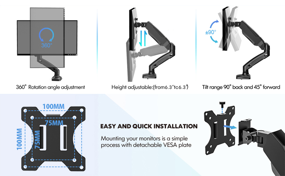 Monitor Arm Ergonomic Height Adjustable Tilt Swivel