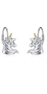 Gold Unicorn Earrings