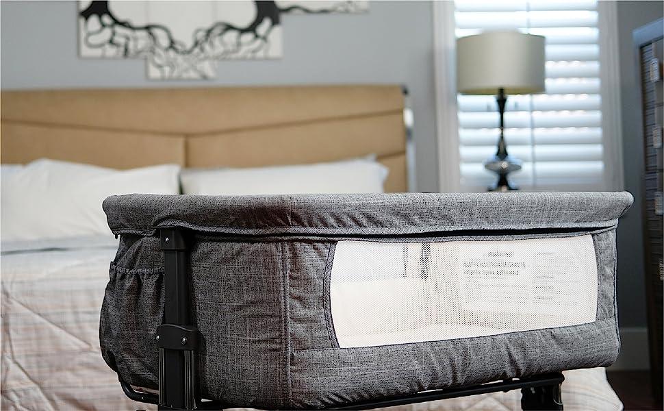 Co-sleeping baby bassinet - Mika Micky Bedside Sleeper Bedside Crib Easy Folding Portable Crib,Grey