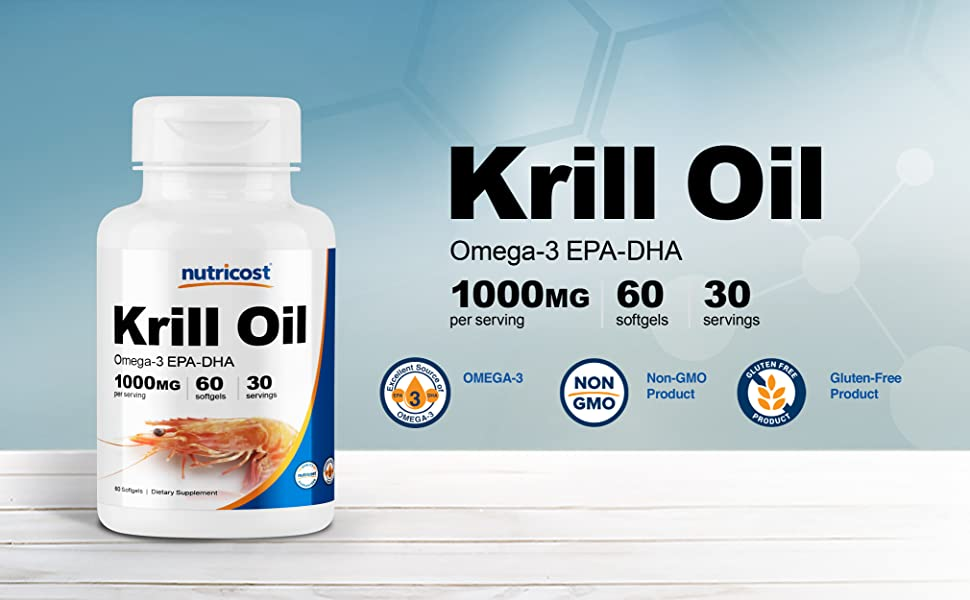 Nutricost Krill Oil Softgels 60 Capsules 1000mg 30 Servings