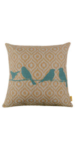 LINKWELL 18x18 inches Forest Bird Yellow Ikat Pillow Cover