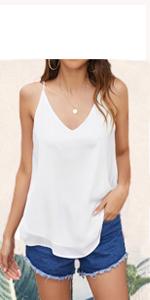 womens tank top spaghetti strap chiffon tops sleeveless summer shirt blouse camisole top cami tank