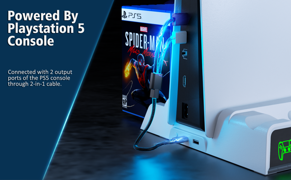 OIVO PS5 Cooling Stand with Controller Charger and Game Slots