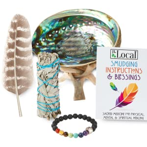 jl local smudging smudge kit white sage stick abalone shell stand