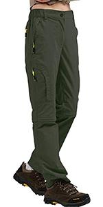 Women's Hiking Pants Convertible Stretch Outdoor Cargo Pants Safari Travel Gardening Capri Pants