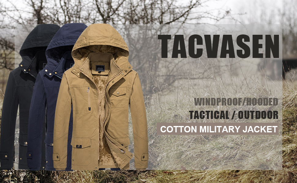 men's cotton military jacket hooded