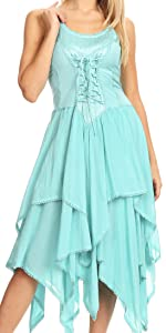 sleeveless smock elastic summer midi lace stretchy casual boho off the shoulder cotton ombre