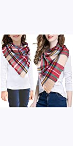 Parent-Child Warm Cozy Tartan Shawl Chunky Wrap Cape Blanket Scarf Set