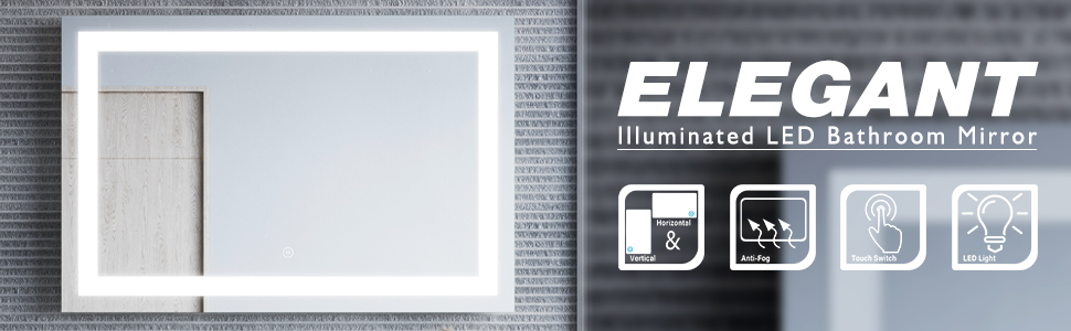 Bathroom LED Mirror Illuminated Light Smart Touch ELEGANT