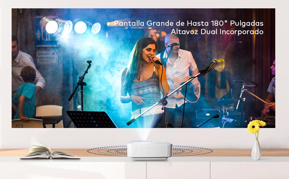 con altavoz integrado para ordenador port/átil EU ordenador de escritorio cine en casa Proyector port/átil HD 1080P Blanco Gelentea el mejor regalo para la familia