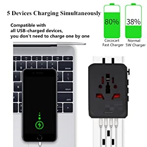 Support 5 Devices Charging At the Same Time