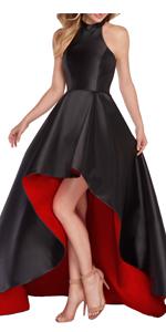 Halter high low prom dress