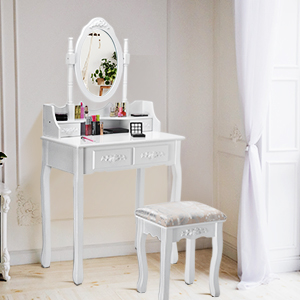 A Nice Vanity Set with Cushioned Stool