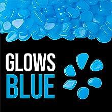glows blue